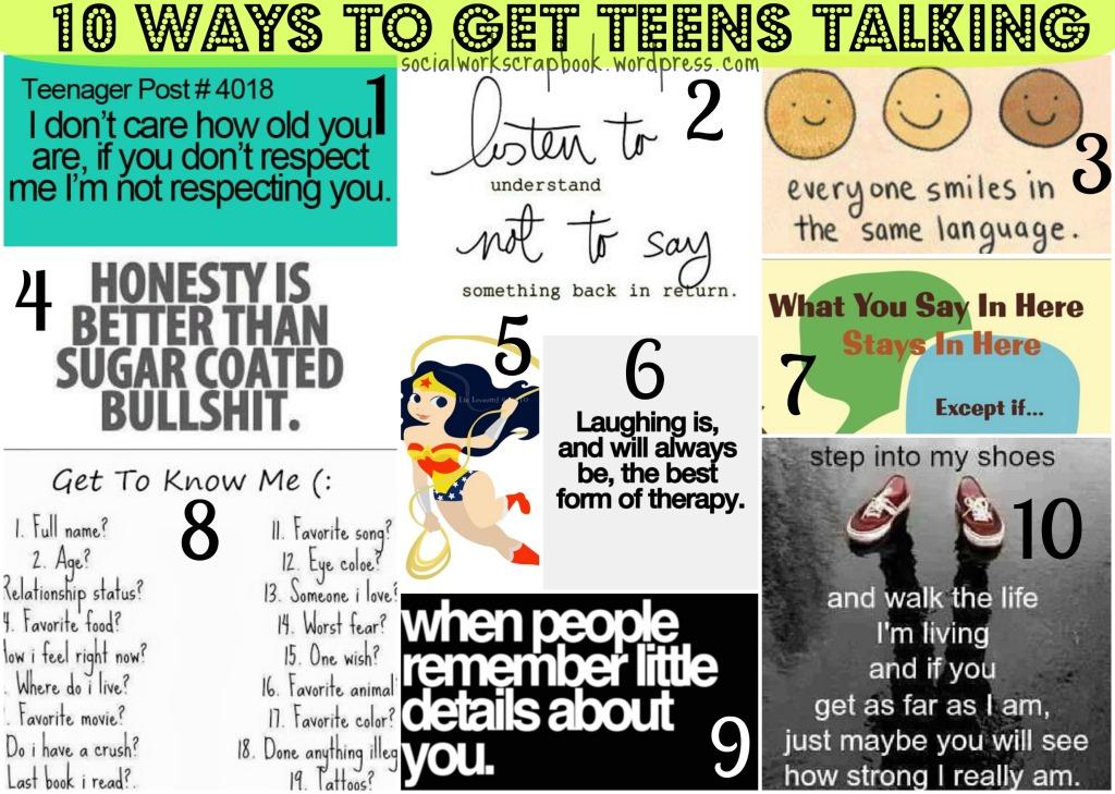 10 ways to talk to teens {social work scrapbook}