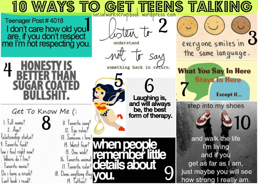 10 ways to talk to teens {social work scrapbook}